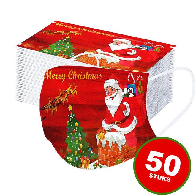 50 Stuks 3-Laags Kerst Mondkapjes