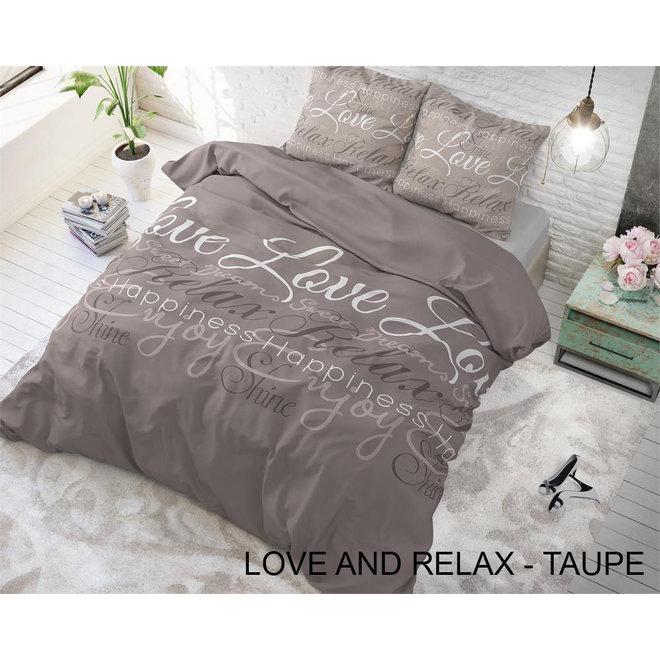 Flanellen Dekbedovertrekken - Love and Relax - Taupe