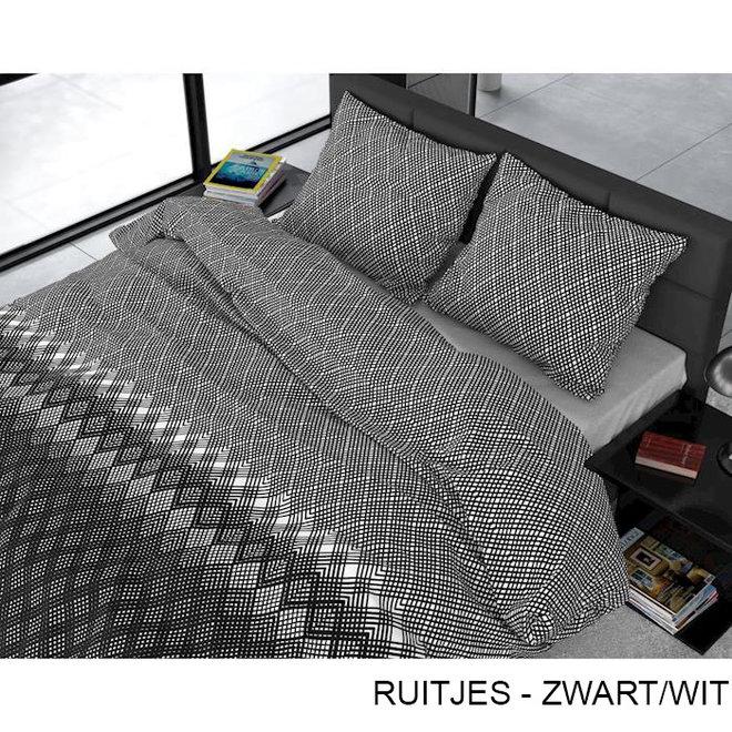 Flanellen Dekbedovertrekken - Ruitjes - Zwart/Wit