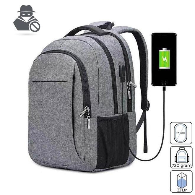 """Anti-diefstal Rugzak met USB - Laad je telefoon onderweg op   Inclusief 15.6"""" laptopvak"""