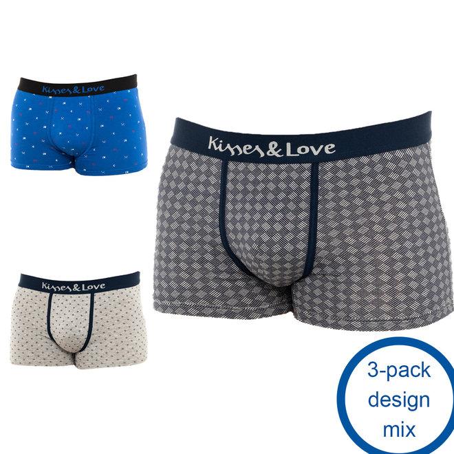Kisses & Love Boxershorts - 3-pack design mix   Vormen zich comfortabel om je huid heen   Ademende stof   Behoud alle bewegingsvrijheid