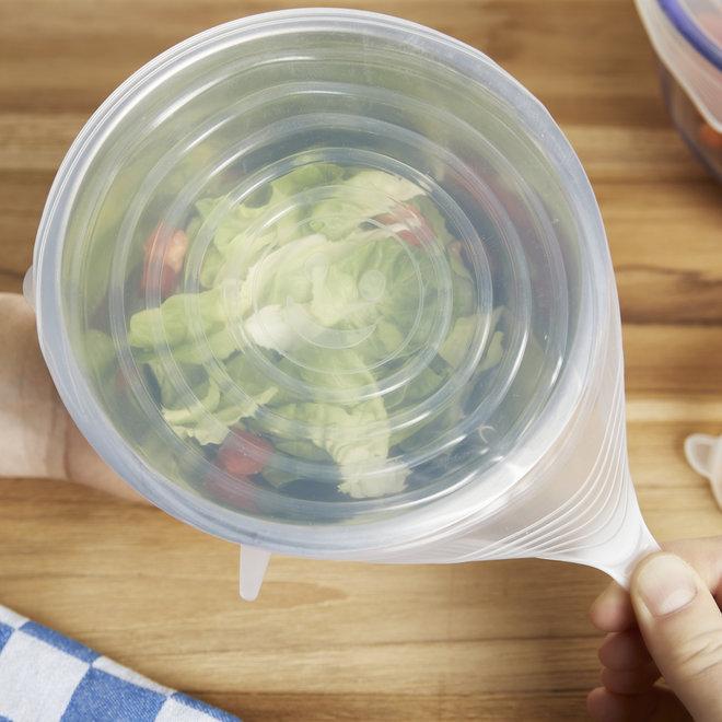 Siliconen Deksels 12-set - 6 formaten   2 stuks per formaat   Heel handig   Houd je voedsel vers!