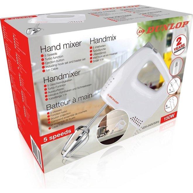 Dunlop Handmixer -- 150W | 5 snelheden | Turbofunctie | Uitwerpknop | Haak- en mixerset