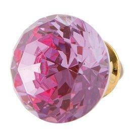 Clayre & Eef Deurknopje glas diamant roze