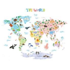 Decowall Decowall muursticker wereldkaart met dieren