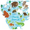 Decowall muursticker wereldkaart Animal World Map