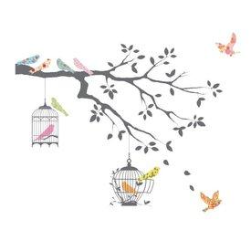 Decowall Decowall muursticker tak grijs met vogels en vogelkooi