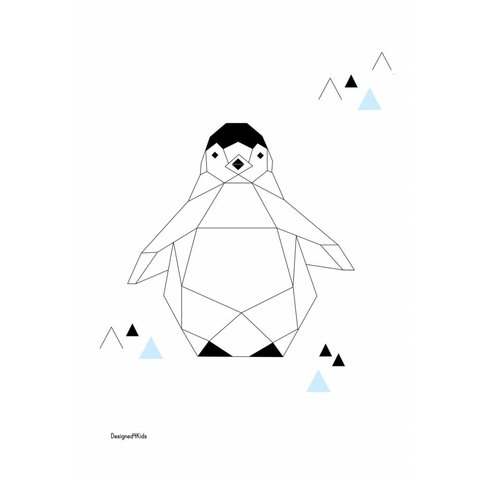 Designed4Kids poster A3 pinguïn  origami