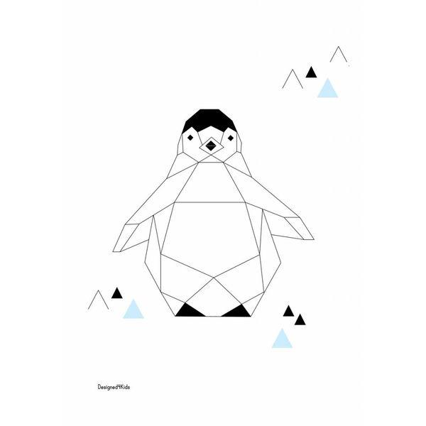 Designed4Kids Designed4Kids kinderposter A3 pinguïn origami