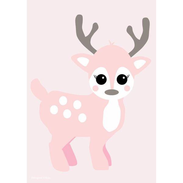 Designed4Kids Designed4Kids poster kinderkamer hertje roze