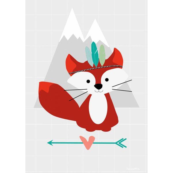 Designed4Kids Designed4Kids poster kinderkamer vos Tribal Fox