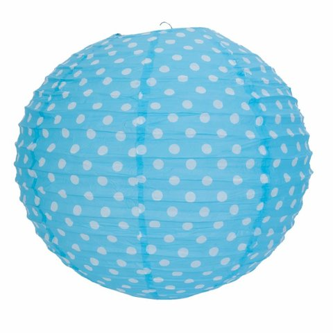 Rijstpapier lamp blauw  met witte stippen
