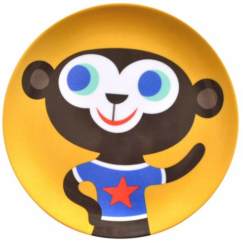 Petit Monkey melamine bord aap geel