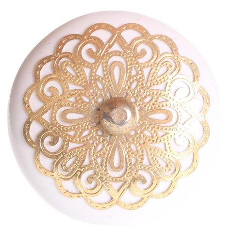 La Finesse kastknopje wit met gouden rozet