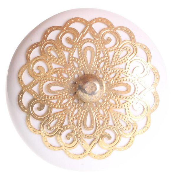 La Finesse La Finesse kastknop porselein wit met gouden rozet