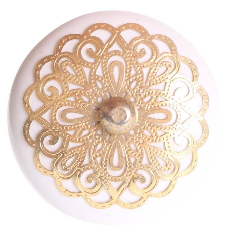 La Finesse Deurknop Wit Met Gouden Rozet