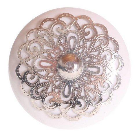 La Finesse kastknopje wit met zilveren rozet