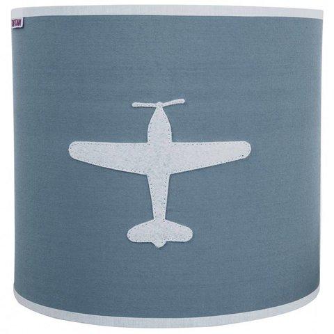 Taftan wandlamp vliegtuig grijs blauw