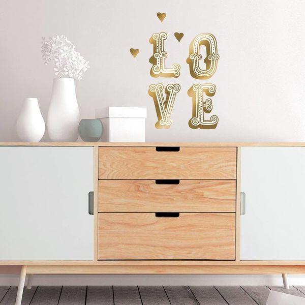 Nouvelles Images Nouvelles Images muursticker LOVE en COOL goud