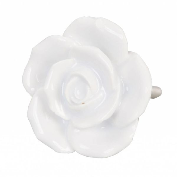 Clayre & Eef Deurknopje bloem roos wit