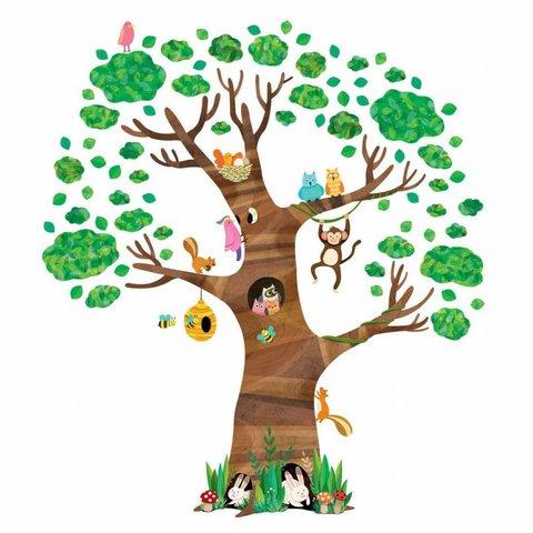 Decowall muursticker grote boom met dieren