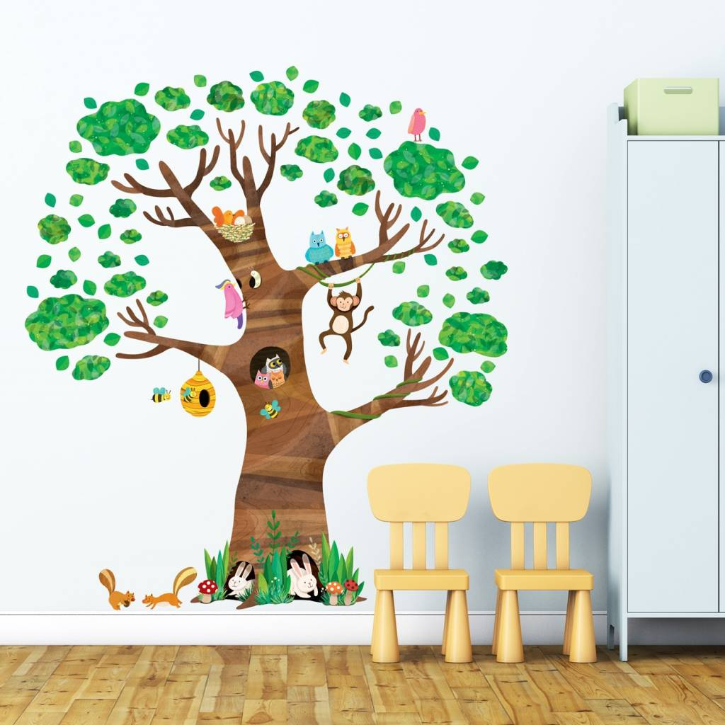 Sticker Boom Kinderkamer.Decowall Muursticker Kinderkamer Boom Giant Tree Kidzsupplies