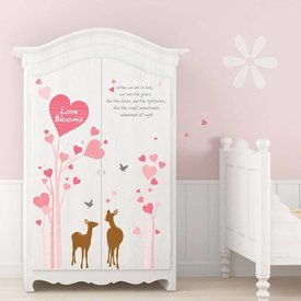 Decowall Decowall muursticker boom met hertjes