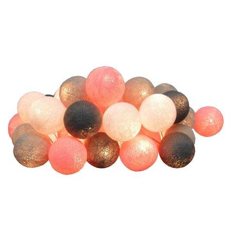 Cotton ball lights lichtslinger roze grijs USB