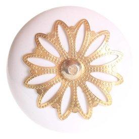 La Finesse La Finesse kastknopje wit met gouden rozet bloem