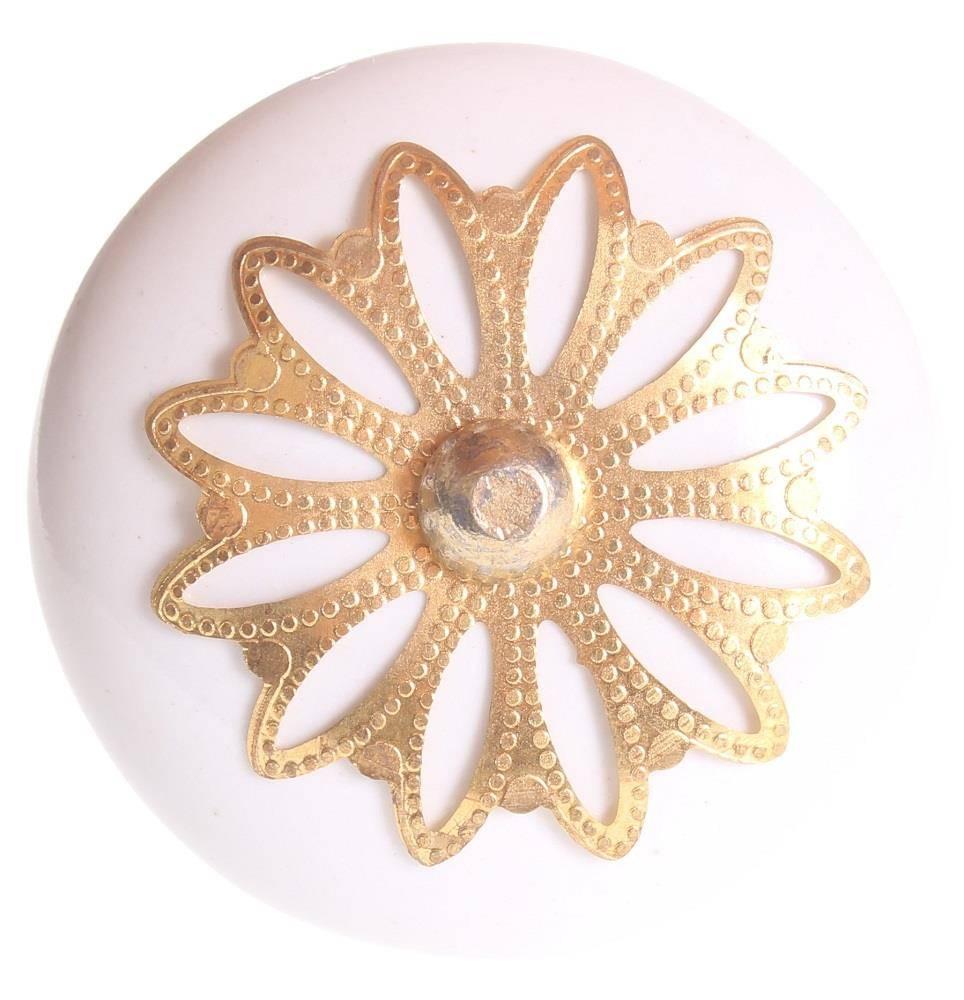 La Finesse Deurknop Wit Met Gouden Bloemen Rozet