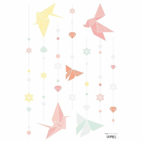 Lilipinso muursticker origami vlinders pastel