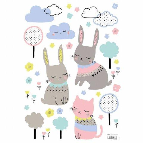 Lilipinso muursticker konijntjes en poes