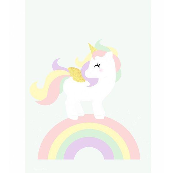 Designed4Kids Designed4Kids kinderposter A3 eenhoorn en regenboog