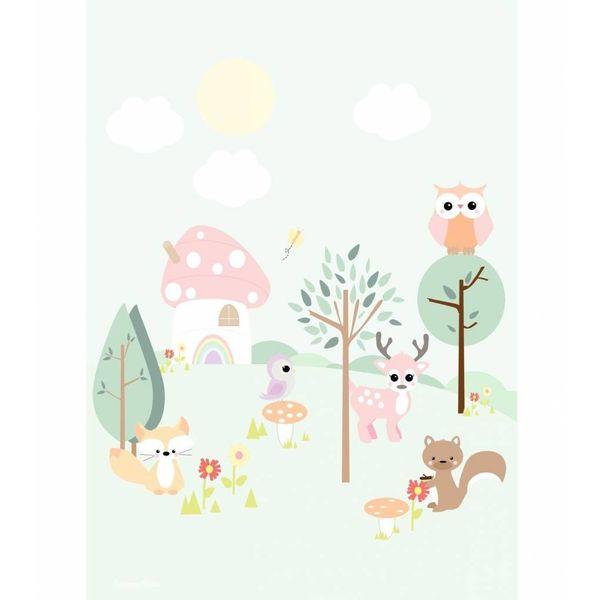 Designed4Kids Designed4Kids kinderposter A3 dieren Forest Friends pastel