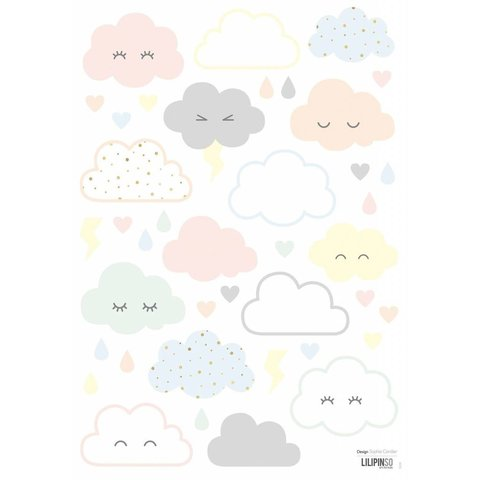 Lilipinso muursticker wolkjes Nuages Rieurs