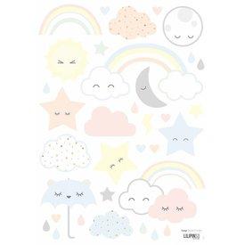 Lilipinso Lilipinso muursticker wolkjes, regenboog en sterren