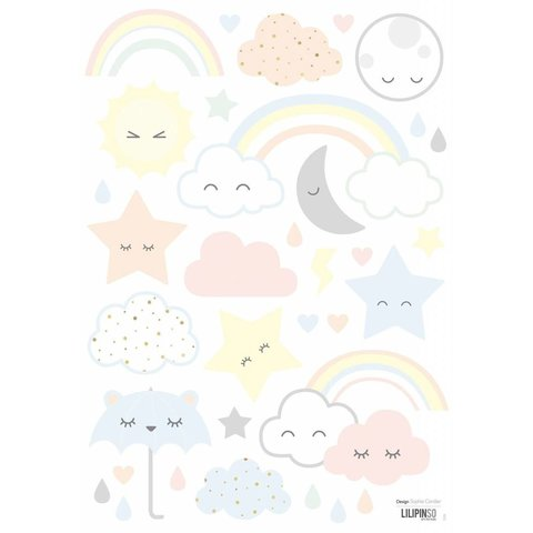 Lilipinso muursticker wolkjes, regenboog en sterren