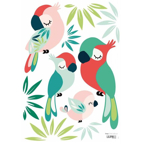 Lilipinso Lilipinso muursticker kinderkamer papegaaien