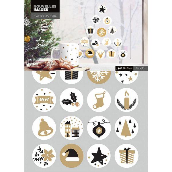 Nouvelles Images Nouvelles Images raamsticker kerstsymbolen goud zwart wit