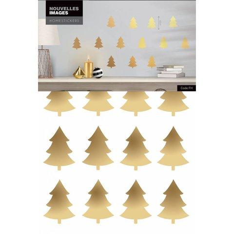 Nouvelles Images muurstickers kerstbomen goud