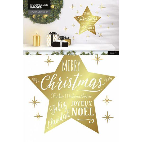 Nouvelles Images Nouvelles Images muurstickers kerst ster goud Merry Christmas
