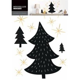 Nouvelles Images Nouvelles Images muurstickers kerstbomen zwart