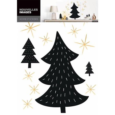 Nouvelles Images muurstickers kerstbomen zwart