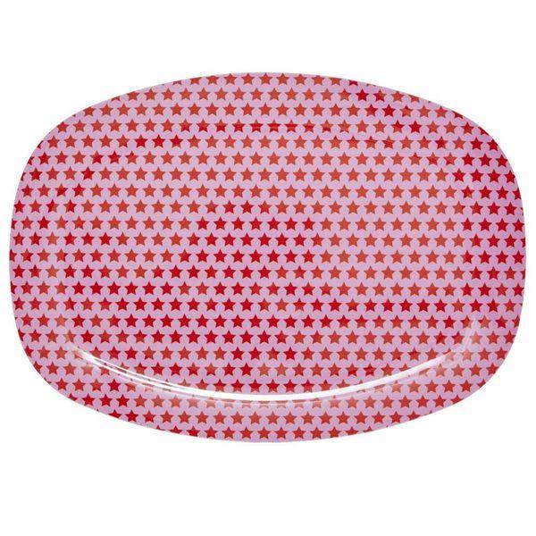 rice Denmark Rice melamine bord sterren roze met rode sterren ovaal