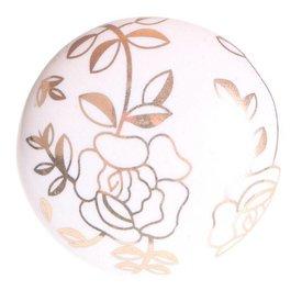 La Finesse La Finesse kastknopje wit met gouden bloemen
