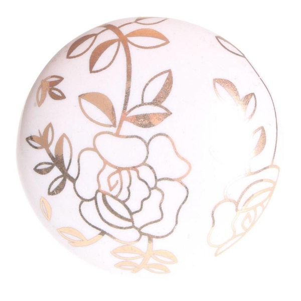 La Finesse La Finesse kastknop porselein wit met gouden bloemen