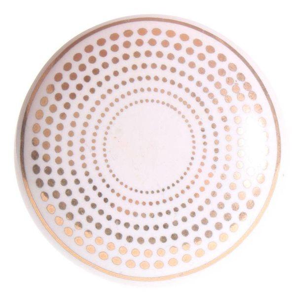 La Finesse La Finesse kastknop porselein wit met gouden stippen