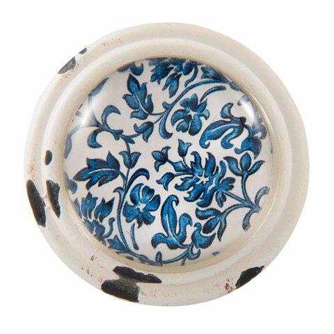 Clayre & Eef deurknop  vintage bloemen blauw