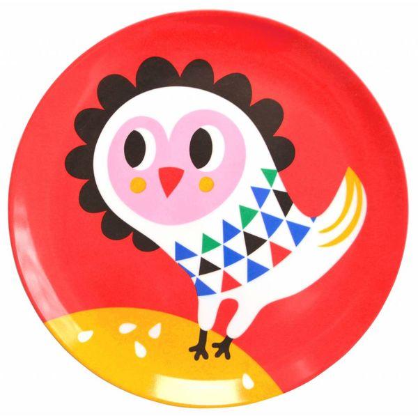 Petit Monkey Petit Monkey melamine kinderbord uil rood