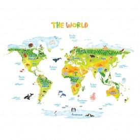 Decowall Decowall muursticker wereldkaart dieren groen